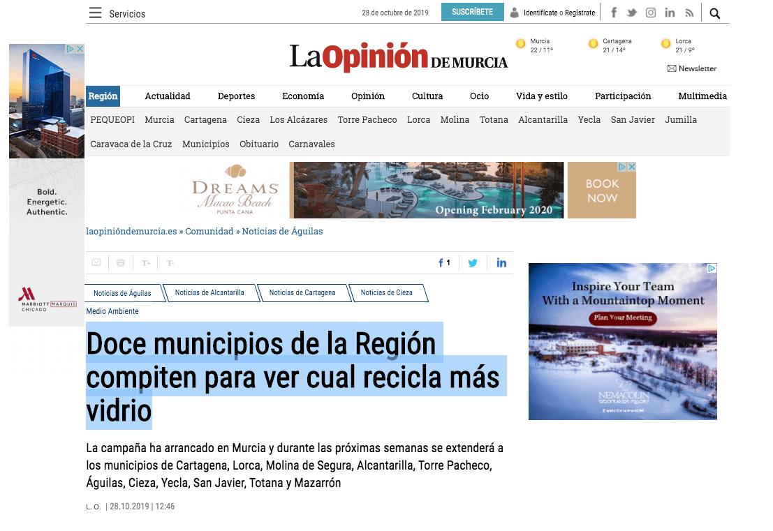 Doce municipios de la Región compiten para ver cual recicla más vidrio