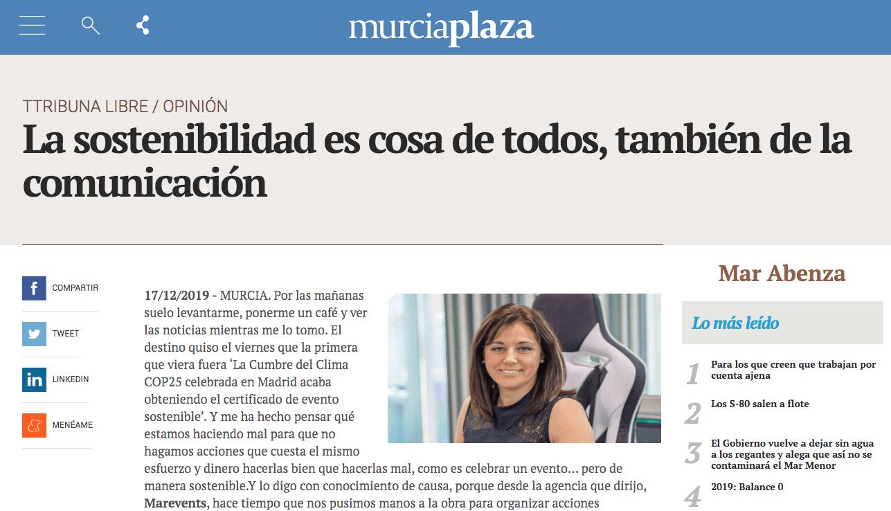 Murcia Plaza Mar Abenza Comunicación Sostenible