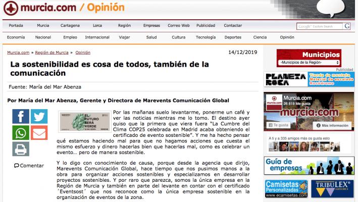 MURCIA.COM publica artículo de Mar Abenza sobre la comunicación sostenible