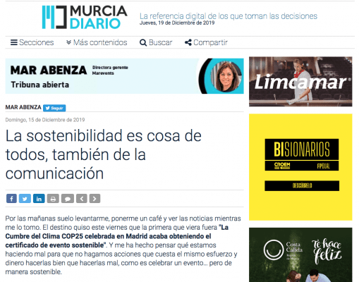 MURCIA DIARIO publica el artículo de Mar Abenza sobre la comunicación sostenible