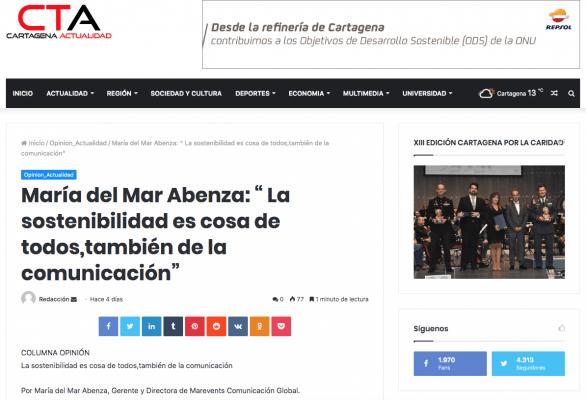 Cartagena Actualidad publica el artículo de Mar Abenza sobre la sostenibilidad en la comunicación