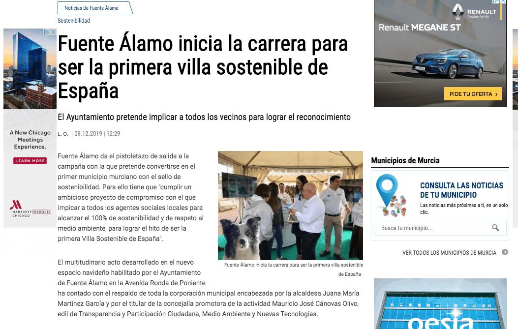 Fuente Álamo inicia la carrera para ser la primera villa sostenible de España gracias a Marevents