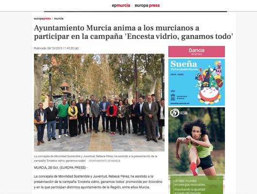 Ayuntamiento Murcia anima a los murcianos a participar en la campaña 'Encesta vidrio, ganamos todo'