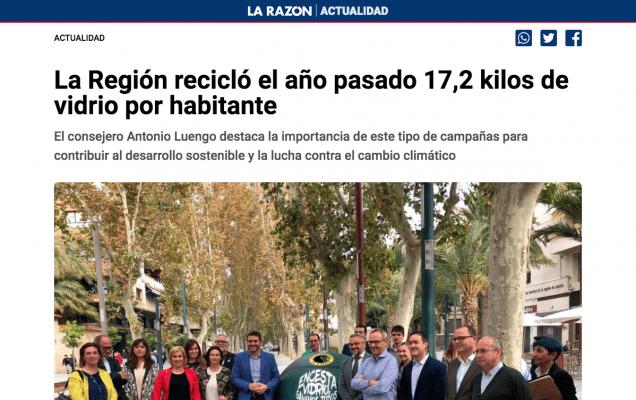 La Región recicló el año pasado 17,2 kilos de vidrio por habitante