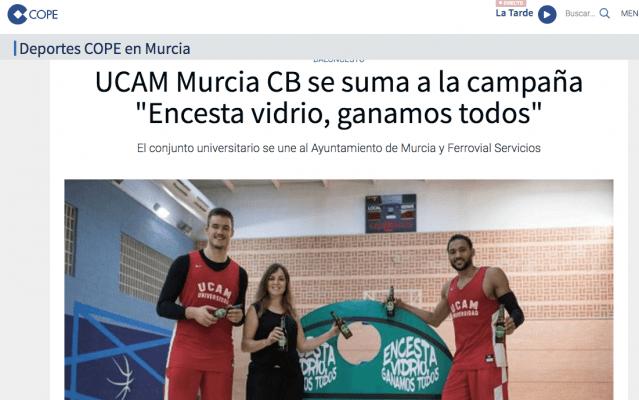 """UCAM Murcia CB se suma a la campaña """"Encesta vidrio, ganamos todos"""""""