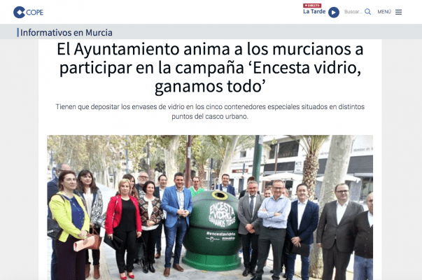El Ayuntamiento anima a los murcianos a participar en la campaña 'Encesta vidrio, ganamos todo'