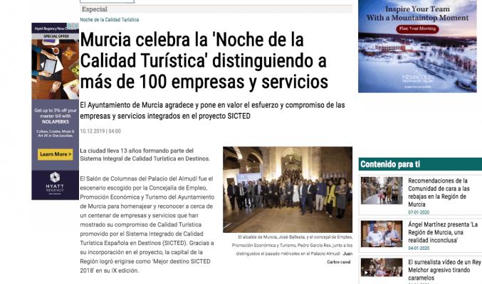 marevents Murcia celebra la 'Noche de la Calidad Turística' distinguiendo a más de 100 empresas y servicios